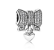 cheap -DIY Jewelry 1 pcs Beads Imitation Diamond Alloy Silver Bowknot Bead 0.5 cm DIY Necklace Bracelet