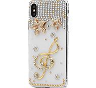 Недорогие -Кейс для Назначение Apple iPhone X iPhone 8 Plus Стразы Чехол Цветы Твердый Искусственная кожа для iPhone X iPhone 8 Pluss iPhone 8