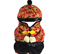 cheap -Dogs / Cat Jumpsuit Dog Clothes Reactive Print Red Other Material Costume For Pets Men's New Year's