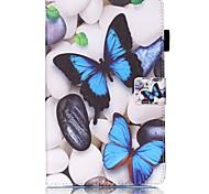 Недорогие -Кейс для Назначение SSamsung Galaxy Tab A 9.7 Бумажник для карт Кошелек со стендом С узором Авто Режим сна / Пробуждение Чехол Бабочка