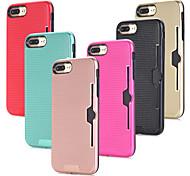 Недорогие -Кейс для Назначение Apple iPhone 8 iPhone 7 Бумажник для карт Защита от удара Кейс на заднюю панель Сплошной цвет Твердый ПК для iPhone 8