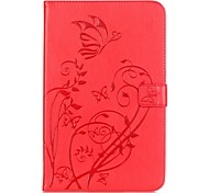 cheap -Case For Samsung Tab E 9.6 Card Holder Wallet with Stand Embossed Auto Sleep/Wake Up Full Body Cases Flower Hard PU Leather for Tab E 9.6