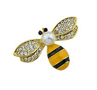 cheap -Women's Brooches , Rhinestone Imitation Pearl Simple Basic Alloy Bee Gold Jewelry For Daily New Year