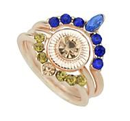 cheap -Women's Rhinestone Imitation Tourmaline / Alloy Knuckle Ring - 3pcs Circle Metallic / Rock Gold Ring For Club / Street