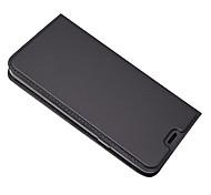 Недорогие -Кейс для Назначение LG Q6 Бумажник для карт со стендом Чехол Сплошной цвет Твердый Кожа PU для LG Q6