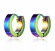 cheap -Men's Women's Colorful Stainless Steel Hoop Earrings - Colorful Fashion Circle For Bar Club