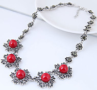 cheap -Women's Bib Statement Necklace - Resin Flower Vintage, European, Fashion Red Necklace For Party
