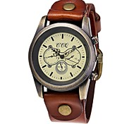 cheap -Men's Women's Unique Creative Watch Chinese Quartz Large Dial Leather Band Casual Fashion Black White Blue Red Orange Brown Green