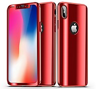 cheap -Case For Apple iPhone X iPhone 8 Plating Mirror Full Body Cases Solid Colored Hard PC for iPhone X iPhone 8 Plus iPhone 8 iPhone 7 Plus