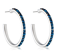 cheap -Women's Cubic Zirconia Zircon / Silver Plated Hoop Earrings - Formal / Elegant / Fashion Dark Blue Circle Earrings For Party / Evening /