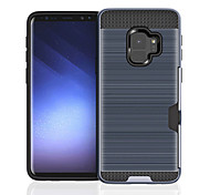 cheap -Case For Samsung Galaxy S9 S9 Plus Card Holder Shockproof Back Cover Solid Color Hard PC for S9 Plus S9 S8 Plus S8