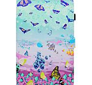 Недорогие -Кейс для Назначение SSamsung Galaxy Tab A 10.1 (2016) со стендом Флип С узором Авто Режим сна / Пробуждение Чехол Бабочка Твердый Кожа PU