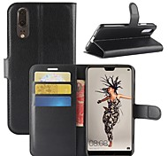 cheap -Case For Huawei P20 lite P20 Card Holder Wallet Flip Magnetic Full Body Cases Solid Colored Hard PU Leather for Huawei P20 lite Huawei