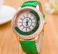 cheap -Women's Quartz Floating Crystal Watch Chinese Casual Watch Leather Band Colorful Fashion Black White Blue Red Brown Green Rose