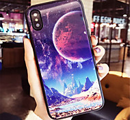 cheap -Case For Apple iPhone X iPhone 7 Plus Pattern Back Cover Scenery Hard Tempered Glass for iPhone X iPhone 8 Plus iPhone 8 iPhone 7 Plus