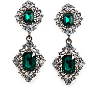 cheap -Women's Crystal Rhinestone Crystal Imitation Diamond Drop Earrings - Formal Fashion Green Geometric Square Earrings For Party Going out