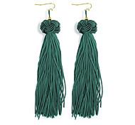 cheap -Women's Tassel Drop Earrings - Tassel Fashion Black Yellow Fuchsia Pink Dark Green Line Earrings For Daily Prom