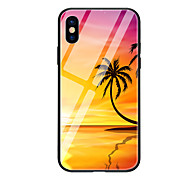 cheap -Case For Apple iPhone X iPhone 8 Pattern Back Cover Plants Scenery Hard Tempered Glass for iPhone X iPhone 8 Plus iPhone 8 iPhone 7