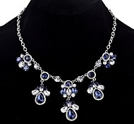 cheap -Women's Drop Crystal Statement Necklace  -  Casual Statement Silver Blue 45cm Necklace For Holiday Date