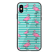 cheap -Case For Apple iPhone X iPhone 8 Pattern Back Cover Flamingo Hard Tempered Glass for iPhone X iPhone 8 Plus iPhone 8 iPhone 7 iPhone 6s