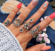 cheap -Ring Set - Alloy Leaf, Flower Basic, Fashion 7 Silver For Daily / Date