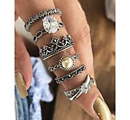 abordables -Ensemble d'anneaux - Imitation de perle, Alliage Couronne Basique, Mode 7 Argent Pour Quotidien / Rendez-vous