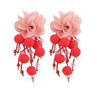 cheap -Long Drop Earrings - Flower Sweet, Fashion Red / Green / Light Blue For Evening Party / Work