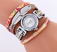 cheap -Women's Bracelet Watch Chinese Imitation Diamond / Casual Watch PU Band Colorful / Elegant Black / White / Blue