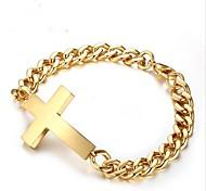 cheap -Men's Geometric Chain Bracelet - Stainless Steel Cross Fashion Bracelet Gold / Silver For Gift / Daily