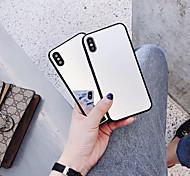 Недорогие -Кейс для Назначение Apple iPhone X / iPhone 6 Зеркальная поверхность Кейс на заднюю панель Однотонный Твердый Закаленное стекло для