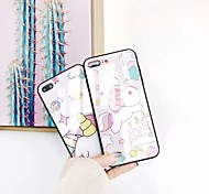 cheap -Case For Apple iPhone 6s / iPhone 7 Plus Lovely Back Cover Unicorn Hard Tempered Glass for iPhone X / iPhone 8 Plus / iPhone 8