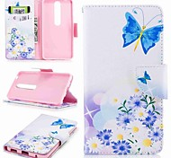 cheap -Case For Nokia Nokia 6 2018 Nokia 5 Card Holder Wallet with Stand Flip Pattern Full Body Cases Butterfly Hard PU Leather for Nokia 8