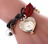 cheap -Women's Quartz Bracelet Watch Chinese Imitation Diamond Casual Watch Alloy Band Flower Heart shape Black