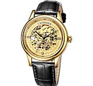 cheap -CADISEN Men's Skeleton Watch Mechanical Watch Japanese Genuine Leather Black / Brown 50 m Water Resistant / Waterproof Hollow Engraving Analog Luxury Vintage - Golden Rose Gold / Stainless Steel