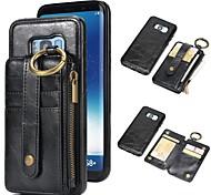 Недорогие -Кейс для Назначение SSamsung Galaxy S9 / S9 Plus Бумажник для карт / Кошелек / со стендом Чехол Однотонный Твердый Настоящая кожа для S9