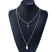 preiswerte -Damen Layered Ketten - Kreuz Grundlegend, Süß Gold 40 cm Modische Halsketten 1pc Für Alltag, Verabredung