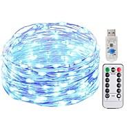 Недорогие -KWB 5 метров Гирлянды 50 светодиоды SMD 0603 1 пульт дистанционного управления Keys Тёплый белый / Белый / Синий Новый дизайн / USB / Декоративная Работает от USB 1 комплект