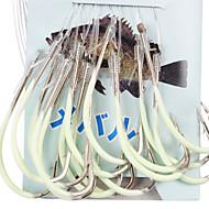 abordables Accesorios para Pesca-Anzuelo noctilucentes Para la pesca marítima Con 45CM-Line (30 piezas / paquete) 12 # -15 # HQ002 (amarillo)