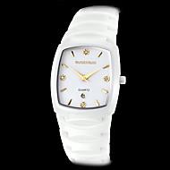 abordables Relojes Formales-reloj de cuarzo de la venda de marfil de línea cuadrada de cerámica de los hombres