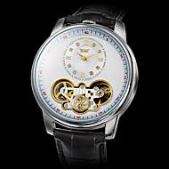 Недорогие Фирменные часы-Муж. Наручные часы / Механические часы С гравировкой Кожа Группа Роскошь Черный / С автоподзаводом