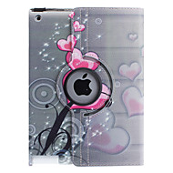 360 degree rotatable PU leather full body case with stand for iPad 2/3/4(Heart-Shaped Flower Pattern)