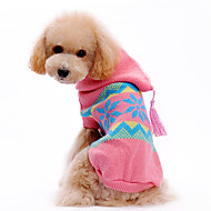 Dog Sweater Hoodie Dog Clothes Woolen Winter Christmas Snowflake Costume For Pets