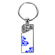 kişiselleştirilmiş kazınmış hediye yaratıcı mavi ve beyaz lotus deseni Anahtarlık