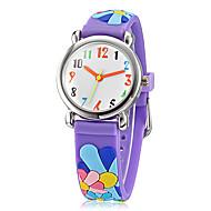baratos -Crianças dos desenhos animados 3D padrão colorido Flores Silicone Banda Little Round Dial Analog de quartzo relógio de pulso