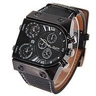 저렴한 -Oulm 남성용 밀리터리 시계 손목 시계 석영 일본 쿼츠 듀얼 타임 존 가죽 밴드 블랙
