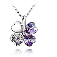 Women's Pendant Necklaces Four Leaf Clover Crystal Rhinestone Platinum Plated Alloy Basic Fashion Simple Style Costume Jewelry Jewelry For