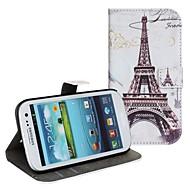 Для Кейс для  Samsung Galaxy Бумажник для карт / со стендом / Флип / С узором Кейс для Чехол Кейс для Эйфелева башня Искусственная кожа