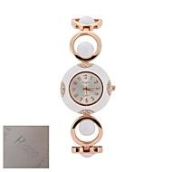 voordelige Gepersonaliseerde horloges-Gepersonaliseerde Gift Mode voor dames Silver Dial goud-tone Open schakel armband Quartz analoog gegraveerd horloge