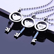 baratos -Presente personalizado Amor chave em forma de jóias em aço inoxidável gravado colar de pingente com 60 centímetros Cadeia