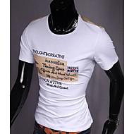 Masculino Camiseta Algodão Estampado Manga Curta Casual-Preto / Laranja / Branco